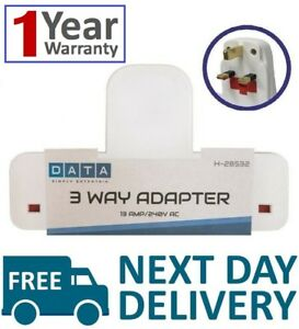 New 3 Way Adaptor 3 Gang Fused Plug Multi Socket Extension Adapter UK SELLER ✔