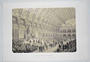 Gravure Paris 1861 Lithographie - Clôture de l' Exposition universelle