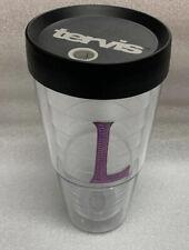 Tervis Letter L in Pink/Purple Sequin 24 oz Clear Tumbler Cup (See Description)