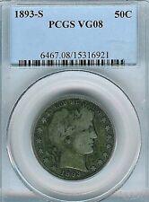 1893-S Barber Half Dollar : PCGS VG08