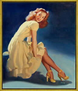 Framed William Bill Medcalf Pin Up Girls Giclee Canvas Print Paintings Poster
