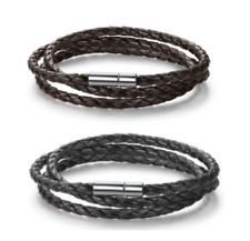 4 PACK OF Handmade Braided Leather Wrap Bracelets BROWN BLACK mens womens unisex