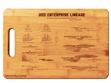 Star Trek U.S.S. Enterprise NCC-1701 Lineage Laser Engraved Bamboo Cutting Board