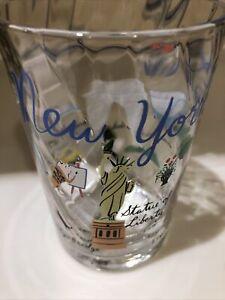 "Anthropologie Libby VanderPloeg New York  Juice Wavy Glass Skyline NYC 4"" New"