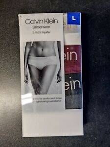 Calvin Klein Women's Hipster Underwear 3-Pack Charcoal / Maroon / White Large