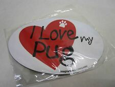 Imagine This 4-Inch by 6-Inch Car Magnet Heart Oval, Pug New