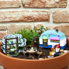 7pc Secret Gnome Caravan Fairy Garden Accessories Enchanted Woodland Magical Set
