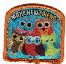 Girl Cub MAKE NEW FRIENDS KEEP OLD  Owls Fun Patches Crests Badges SCOUT GUIDE