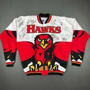 100% Authentic Champion 95 96 Atlanta Hawks Autographed Team Warm Up Jacket 46