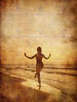 PAINTING DRAWING YOGA GIRL SEPIA BEACH GRUNGE ART PRINT POSTER MP3890B