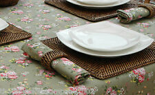 140cm DIAMETER ROUND VINTAGE GREEN WITH PINK FLOWERS TABLECLOTH