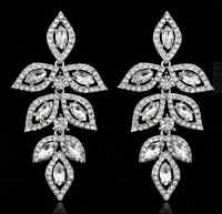 New Women Elegant wedding Party Crystal Diamante Long Leaf Chandelier  Earring