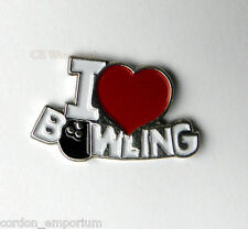 I LOVE BOWLING HEART NOVELTY LOGO LAPEL PIN 3/4 INCH