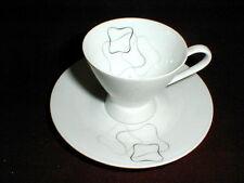 Rosenthal Mid Century Modern LINEAR Gray Black Demitasse Cup Saucer