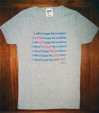 "Girls ""I WILL NOT TEASE THE COWBOYS"" Gray With Blue Pink Writing T-shirt S 6-8"