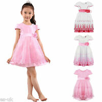 Girls Floral Embroidered Organza Dress Age 3 4 5 6 7 8 9 10 NEW