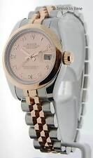 Rolex Datejust 18k Pink Gold/Steel Goldust MOP Diamond Dial Ladies Watch 179161