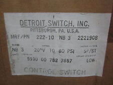 * NEW DETROIT SWITCH, INC. MODEL: 222-10 CONTROL SWITCH ................MM-807A