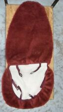 Deluxe Plush Universal High Back Bucket Seat Cover Sheepskin Burgundy Color