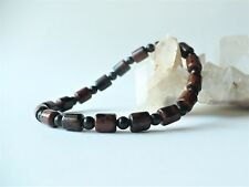 Bracelet en obsidienne acajou perles rondes/tubes- pierre fine gemme homme mixte