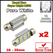 2x Blanco coche cúpula Interior C5w Smd 6 Led Festoon bombilla luz lámpara 39mm 12v Nuevo