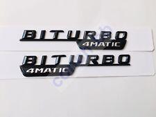 2 X BITURBO 4MATIC Gloss Black BADGE Emblem FOR MERCEDES AMG