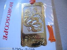 Horoscope Aquarius Water Bearer Zodiac 24K Gold plated  Bookmark book mark JAPAN