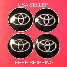 TOYOTA 4Pcs Black 65mm Domed Car Emblem Wheel Center Hub Cap Decals Stickers