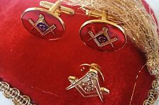 Masonic Cuff links Red Blue,Square & Compass Lapel Pin Set Gold Plated +G/Bag