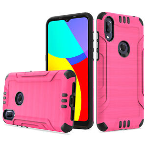 For Alcatel Lumos / Alcatel Axel Phone Case Brushed Hybrid Armor Rubber Cover