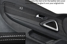 WHITE  STITCHING 2X FRONT DOOR CARD TRIM LEATHER COVERS FITS VW SCIROCCO 08-14