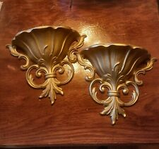 Pair vintage gold colored wall pocket plaques