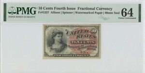 Fourth Issue 10 Cents FR#1257 PMG 64 CH Unc Watermarked