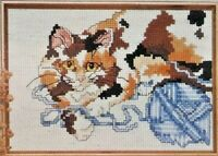 1992 Vntg NIP Counted Cross Stitch Embroidery Kit Cat & Yarn 5x7 Picture 7979F