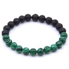 Natural Malachite Healing Balance Beaded Bracelet Lava Stone Yoga Reiki Prayer