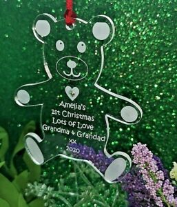 Baby's First Christmas Personalised Teddy Bear Bauble 1st Tree Decoration