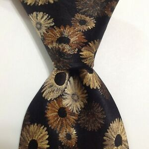 LANVIN Paris Men's 100% Silk Necktie FRANCE Designer FLORAL Black/Brown/Gold EUC