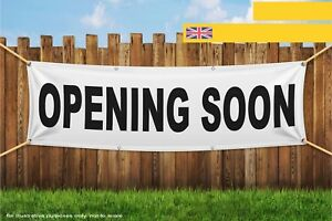 Opening Soon New Business Black Text Shop Window Heavy Duty PVC Banner Sign 3235