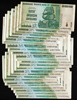 50 Million Zimbabwe Dollars x 25 Banknotes Lot [25PCS] ¼ Bundle AA 2008 Currency