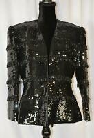 Nolan Miller Women's Black Sequin Beaded Blazer Jacket Size Medium Hook Loop Fun