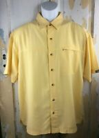 The North Face Mens Medium Yellow Chest Pocket Casual S/S Button Up Shirt