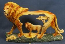Lion King of Beasts on African Savanna wildlife decor wood like figurine