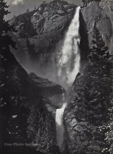 1950s Vintage ANSEL ADAMS Yosemite Falls Rock Cliffs Landscape Photo Art 12X16