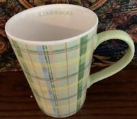 Starbucks Green Yellow Plaid 12 oz Coffee Cup Mug 2006