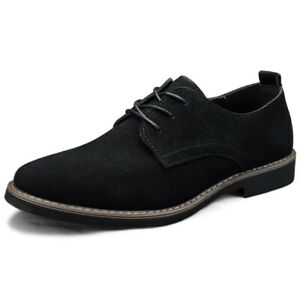 Men Derby Shoes Casual Low Top Business Faux Suede Lace-ups Round Toe Workwear L