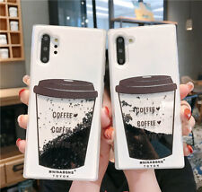 For Samsung galaxy Note10+ 8 S9+ S10+ Bling Dynamic Coffee cup liquid phone case