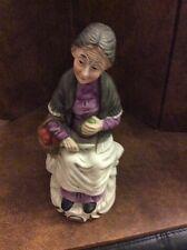 Flambro Fine Porcelain Old Lady Women Apples In Basket