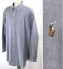 EUC RALPH LAUREN Yarmouth Button Down Shirt sz 17-34   Chambray Fabric Blue-Grey