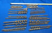 Lot Of 32 Vintage Brace Drill Auger Boring Bits Square Drive Farm Woodworking