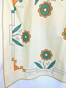 Vintage Mid Century Modern MCM German Table Cloth Floral Applique Embroiderd New